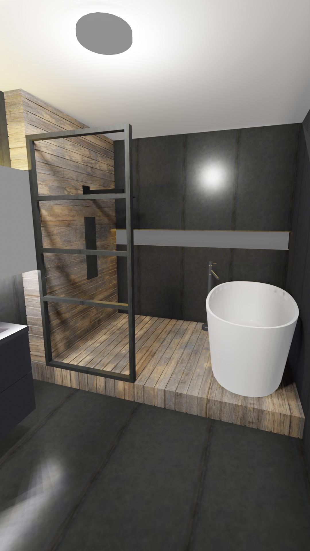 salle de bain avec baignoire ilot et douche