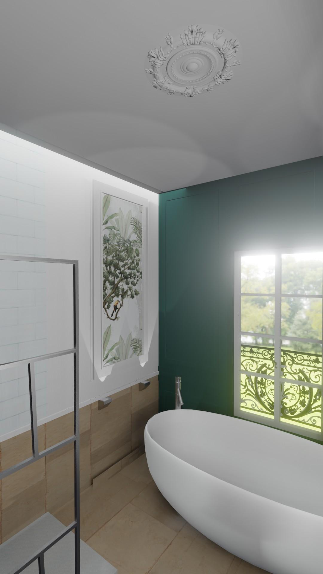grande salle de bain avec baignoire ilot V 4